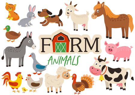 set of isolated cute farm animals Standard-Bild - 129006141