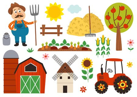 set of isolated farm elements  イラスト・ベクター素材