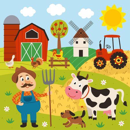 farmer in the barnyard with pets