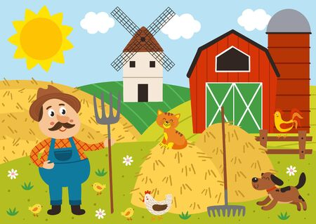 farmer stands in the barnyard with pitchfork and pets Illustration