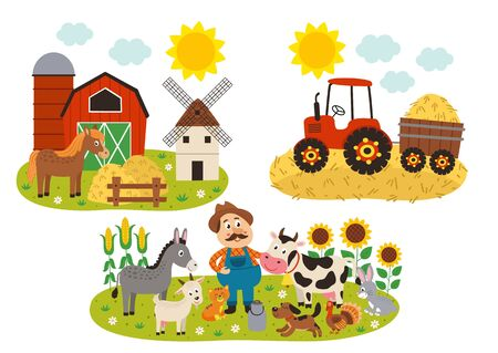 set of isolated farm scenes