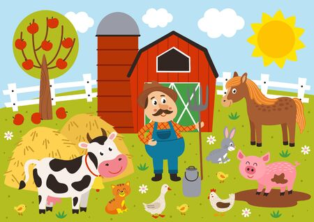 farmer and farm animals in the barnyard