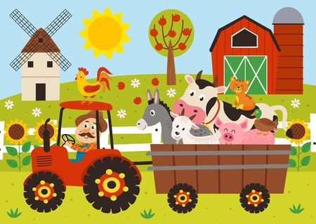 farmer and farm animals riding a tractor with a trailer