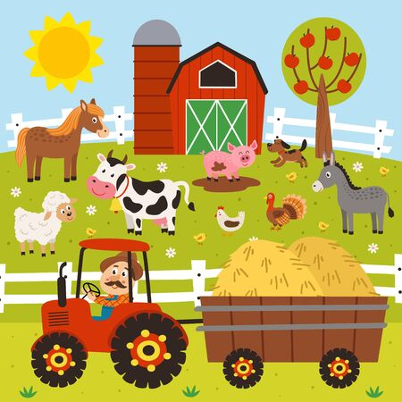 farmer rides a tractor and farm animals stand in the barnyard