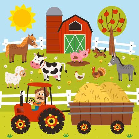 un fermier monte un tracteur et des animaux de ferme se tiennent dans la basse-cour