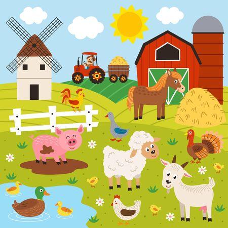 farmer and happy animal farm