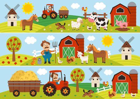 Conjunto de banners horizontales aislados con granjero y mascotas. Ilustración de vector