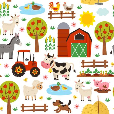 seamless pattern with farm animals on white background