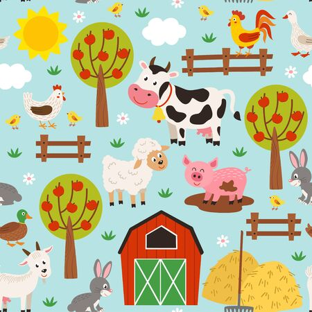 seamless pattern with pets in the barnyard