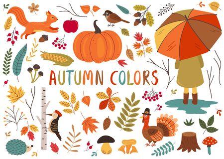 set of isolated autumn colorful elements Standard-Bild - 129006195