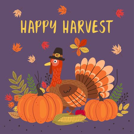 Happy Thanksgiving Day card design Standard-Bild - 129006200