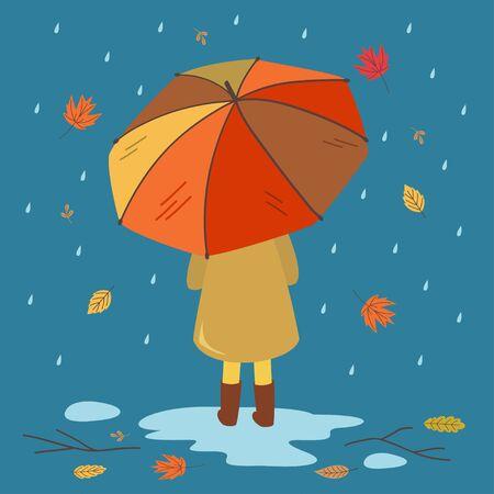 autumn card with a girl under an umbrella Standard-Bild - 129006207