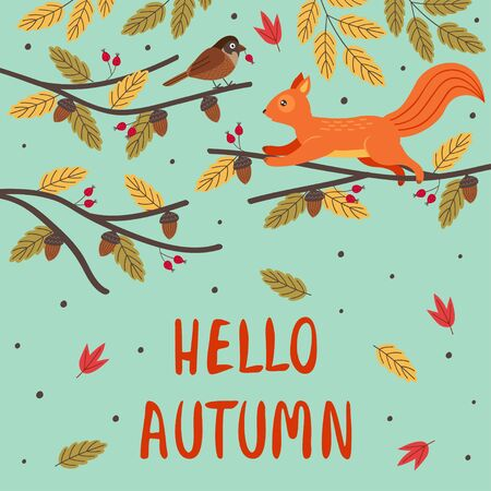 autumn card with a squirrel and a bird on a branch Standard-Bild - 129006205