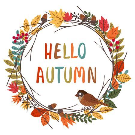 card design with autumn colorful frame Standard-Bild - 129006209