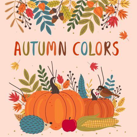 card design with autumn colorful elements Standard-Bild - 129006234