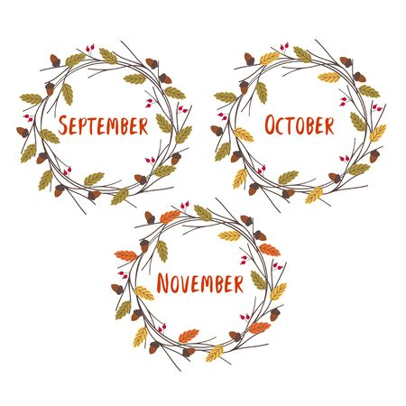 set of isolated frames with autumn months Standard-Bild - 129006254