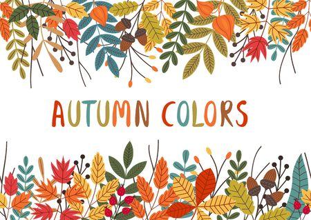 seamless horizontal banner with autumn colorful plants Standard-Bild - 129006260