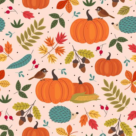 seamless pattern with autumn colorful elements Standard-Bild - 130887829