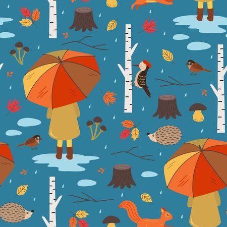seamless autumn pattern with a girl under an umbrella Standard-Bild - 130887831