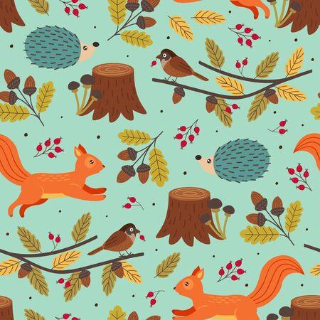 seamless autumn pattern with forest animals Standard-Bild - 130887840