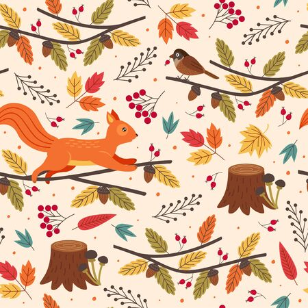 seamless pattern with hedgehog and autumn elements Standard-Bild - 130887843