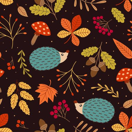 seamless pattern with hedgehog and autumn elements Standard-Bild - 130887844