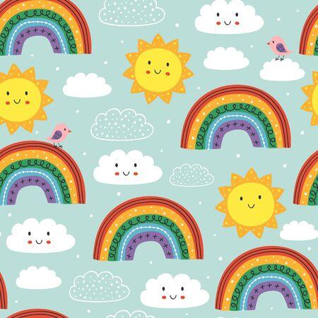 blaues nahtloses Muster mit süßem Regenbogen, Wolke, Vogel und Sonne