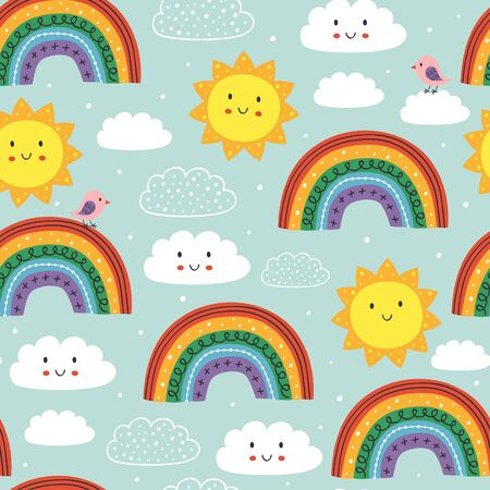 blue seamless pattern with cute rainbow, cloud, bird and sun Ilustração