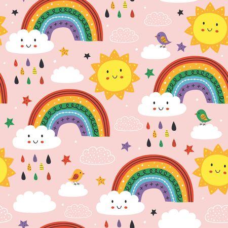 pink seamless pattern with cute rainbow, cloud, bird and sun Standard-Bild - 130887850