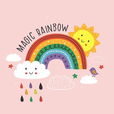 pink poster with magic rainbow, cloud, bird and sun Standard-Bild - 130887852