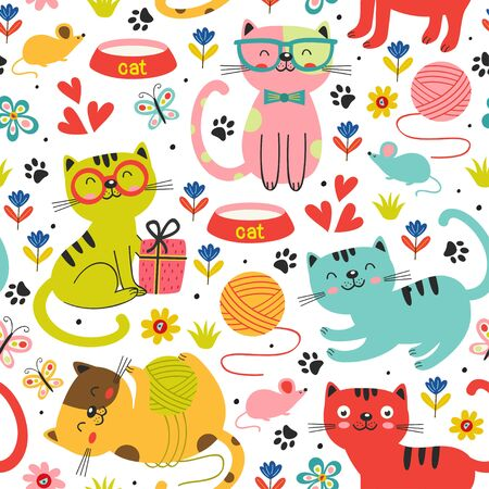 seamless pattern with colorful cats in flowers Standard-Bild - 130887857