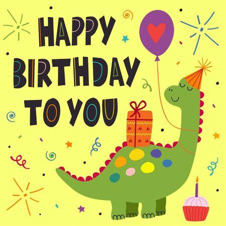 birthday card with cute dinosaur Standard-Bild - 130887860