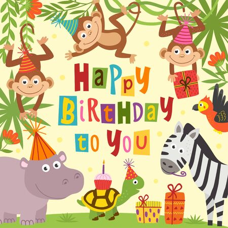 birthday card with cheerful jungle animals Standard-Bild - 130887864