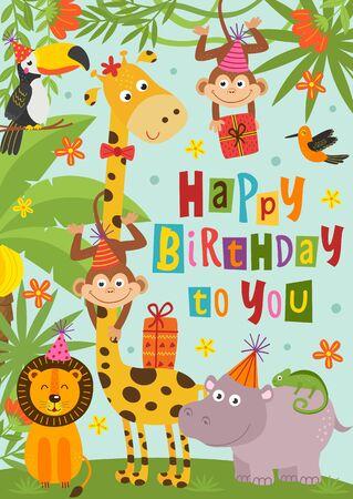 birthday card with funny jungle animals Standard-Bild - 130887866