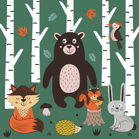 poster with animals in the forest in Scandinavian style Standard-Bild - 130887917