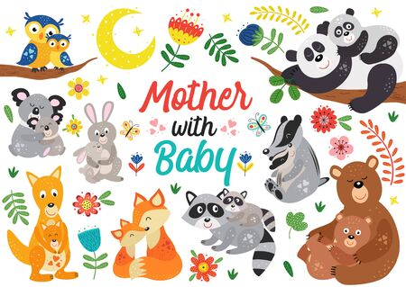 set of isolated animals mother with baby Standard-Bild - 130887919