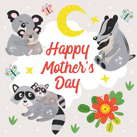 poster with koala, raccoon and badger. Mother and baby Standard-Bild - 130887916