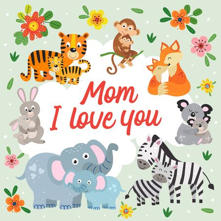 poster with cute animals mother and baby Standard-Bild - 130887922
