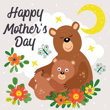 poster with cute bear mother and baby Standard-Bild - 130887921