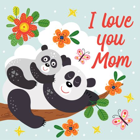 poster with cute panda mother and baby Standard-Bild - 130887920