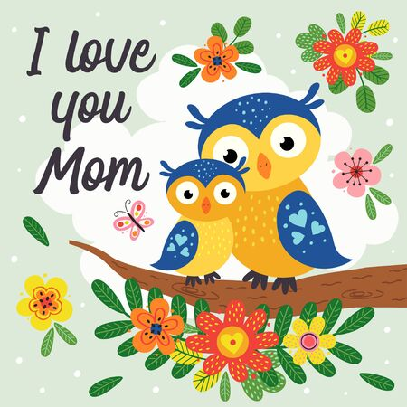 poster with cute owl mother and baby Standard-Bild - 130887923