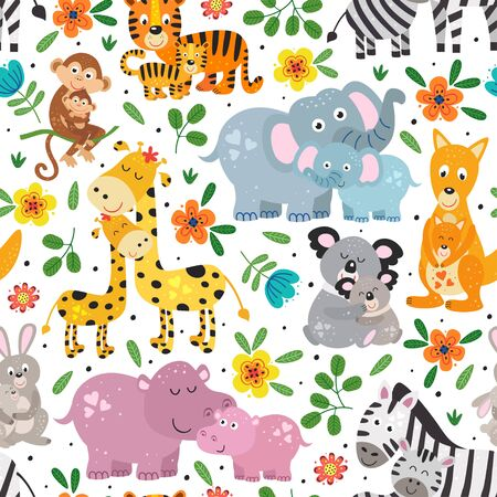 seamless pattern with cute animals mother and baby on white background Standard-Bild - 130887927