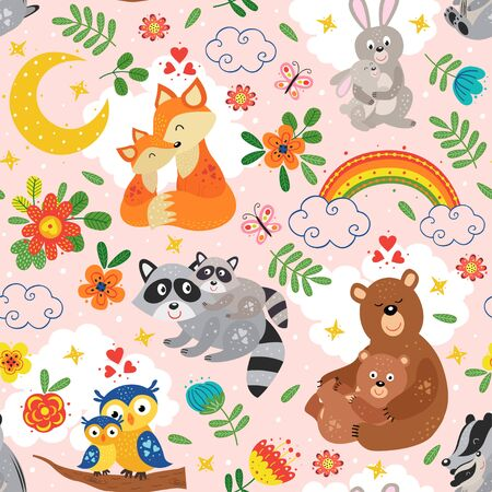 seamless pattern with cute animals mother and baby on pink background Standard-Bild - 130887924