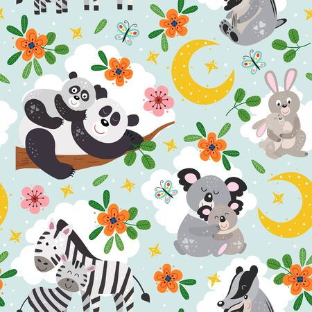 seamless pattern with cute animals mother and baby on blue background Standard-Bild - 130887931