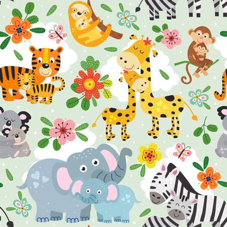 seamless pattern with cute animals mother and baby on green background Standard-Bild - 130887928