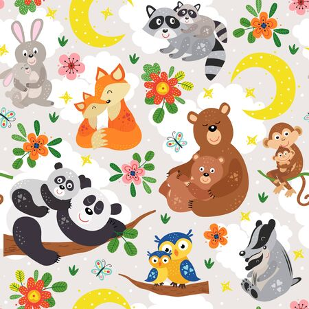seamless pattern with cute animals mother and baby on gray background Standard-Bild - 130887930
