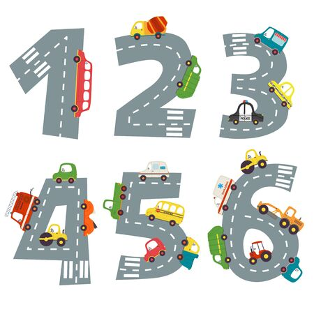 set of numbers with number of cars from 1 to 6