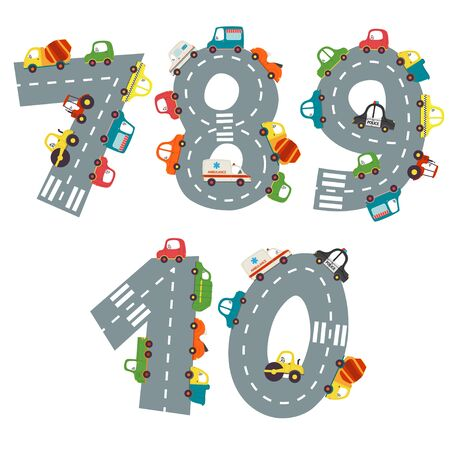 set of numbers with number of cars from 7 to 10 Illustration