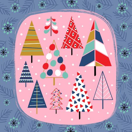 decorative card with beautiful christmas trees - vector illustration, Standard-Bild - 131978374