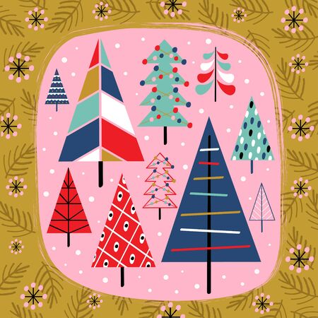 decorative card with christmas trees - vector illustration Standard-Bild - 131978375